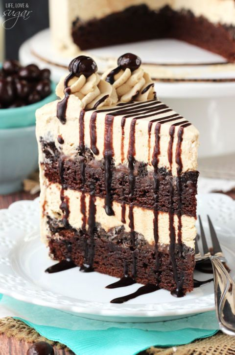 Instead of a brownie sundae, try a brownie ice cream cake. Get the recipe from Life, Love, and Sugar.