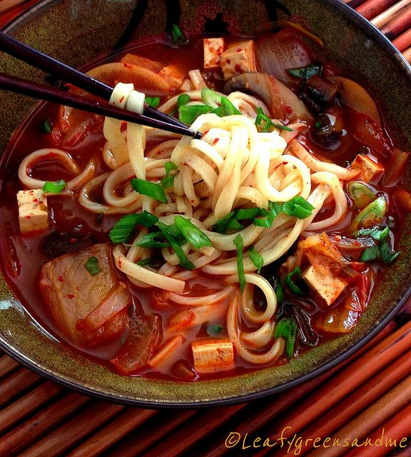 Spicy Korean Kimchi and Tofu Noodle Soup