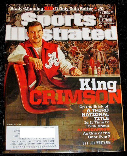 Sports Ilustrated Magazine November 25 2013 AJ McCarron Alabama Crimson Tide