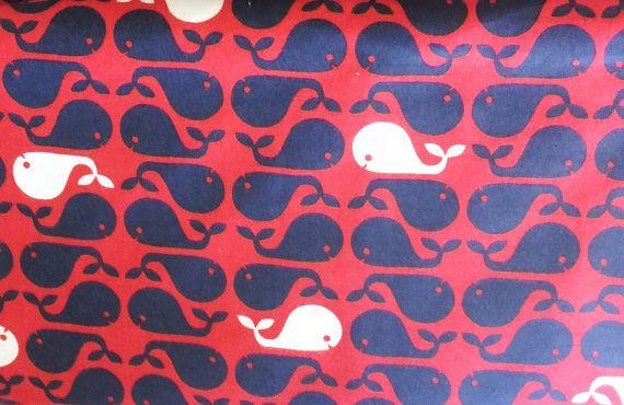 Tessuto di flanella, rosso, Blu Navy, bianco tessuto a tema nautico - nautica flanella tessuto balene in Navy e bianco - 1/2 Yard incrementi…