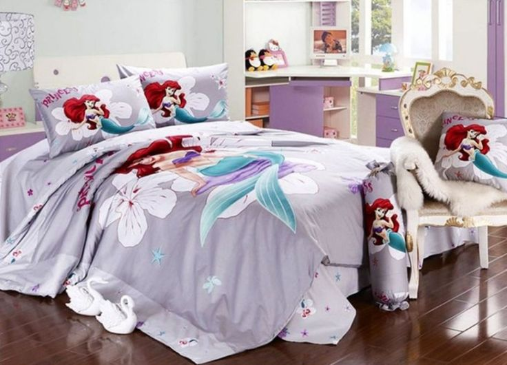 Bedroom Designs:Sweet Purple Little Mermaid Bedding Feats White Furnitures  On Laminate Floor Also Soft