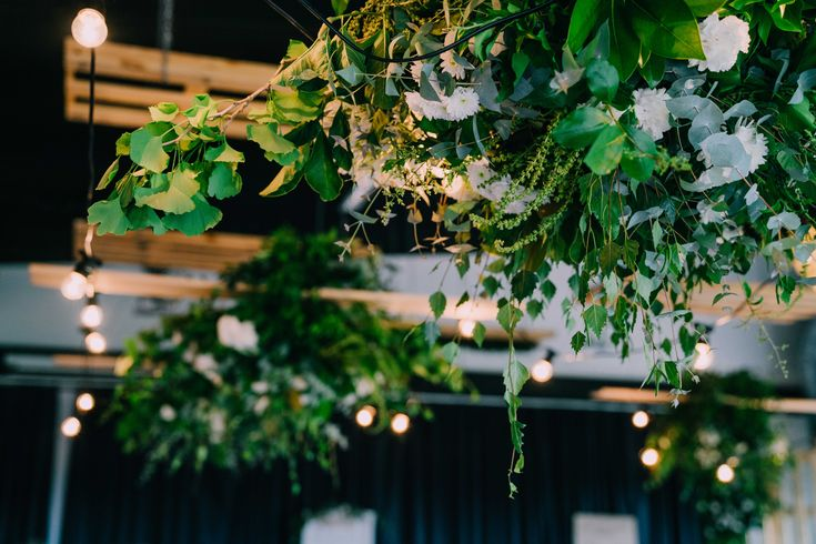 Festoon lighting and lush greenery.  Adorn Event Styling@Tailrace Centre
