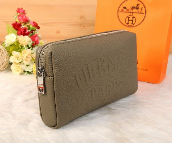 Hermes Grainy Leather Clutch H2152 Grey