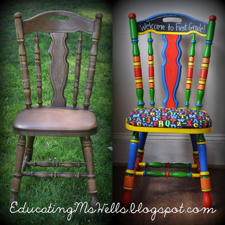 Painted Teacher Chair with Chalkboard Paint for a Circus Themed Classroom