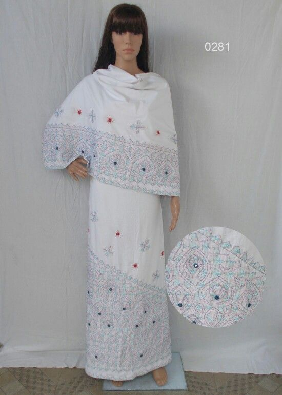 Rally work Rida on white cotton with pastle printed fabric highlighted with sequins embroidery all over.