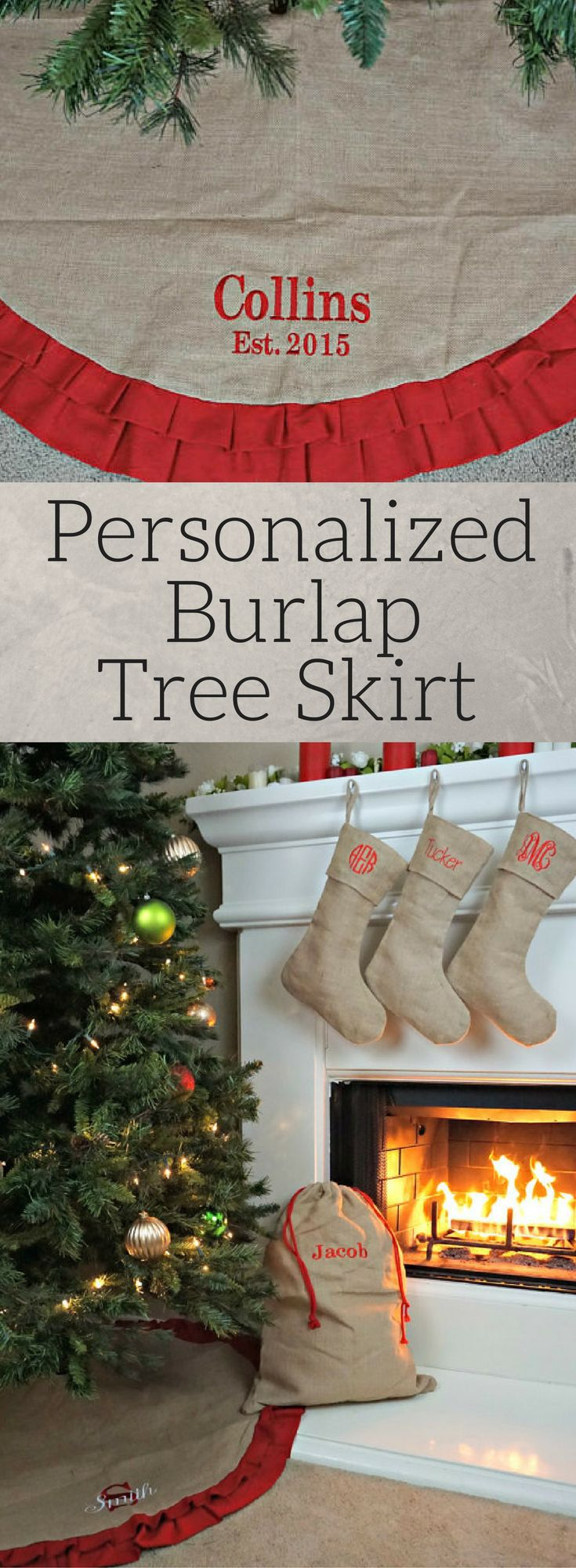 Personalized Burlap Christmas Tree Skirt, Burlap tree skirt, Christmas tree skirt, Ruffle tree skirt, Burlap skirt, personalized Christmas decor, Rustic Christmas tree skirt, Rustic decor, Monogram tree skirt #ad
