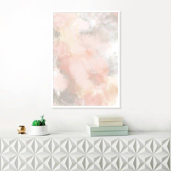 Blush Pink and Grey Painting Pink Abstract Art Pink Wall Art Prints, Printable Art
