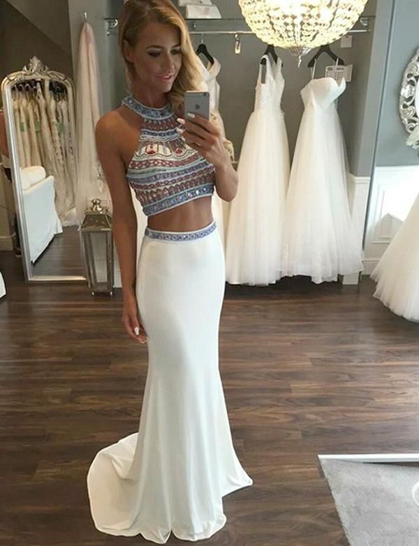 Two Piece Halter White Boho Prom Dress With Beading Two Pieces