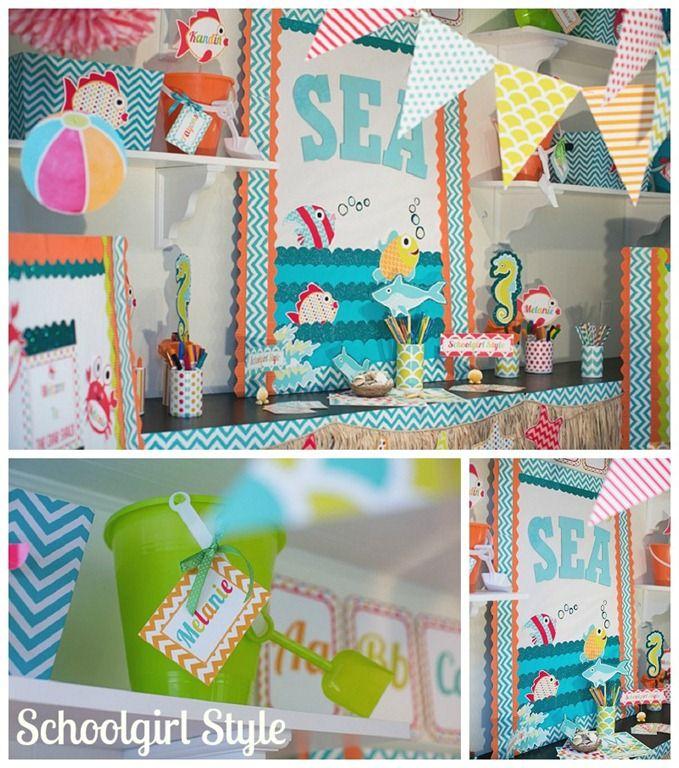 Classroom Beach Decor : Ocean beach starfish shark chevron classroom decor by