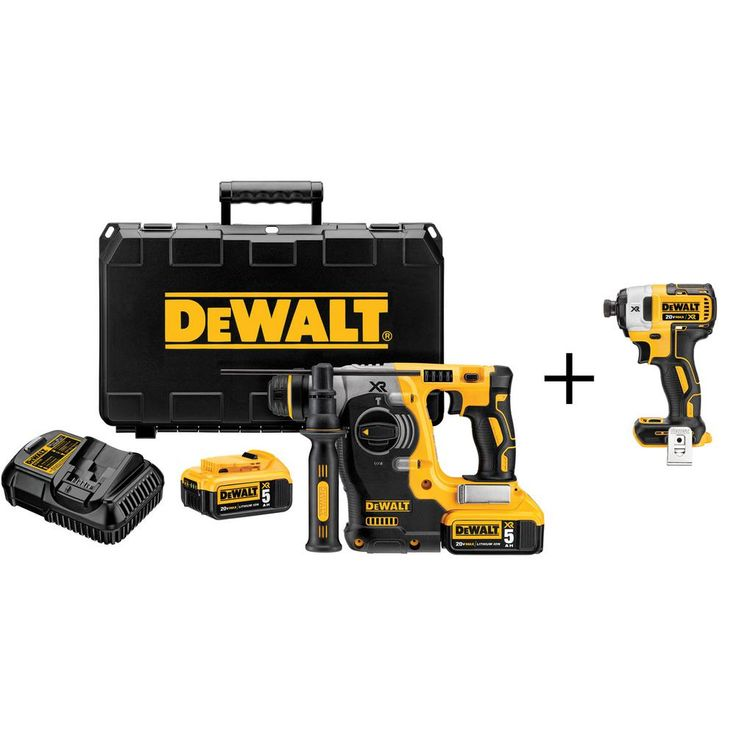 DEWALT 20-Volt MAX Lithium-Ion Cordless Brushless 1 in. SDS Plus Rotary Hammer with Bonus Bare 1/4 in. Impact Driver