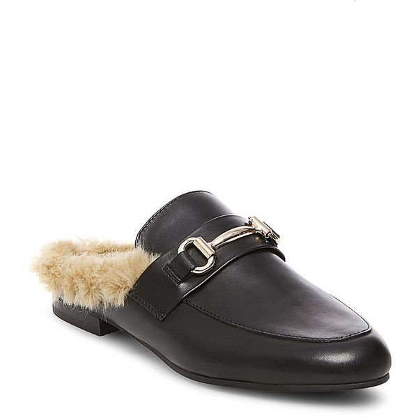 Steve Madden Women's Jill Loafers ($90) ❤ liked on Polyvore featuring shoes, loafers, black leather, loafer flats, black shoes, black slip-on shoes, slip-on shoes and black mules