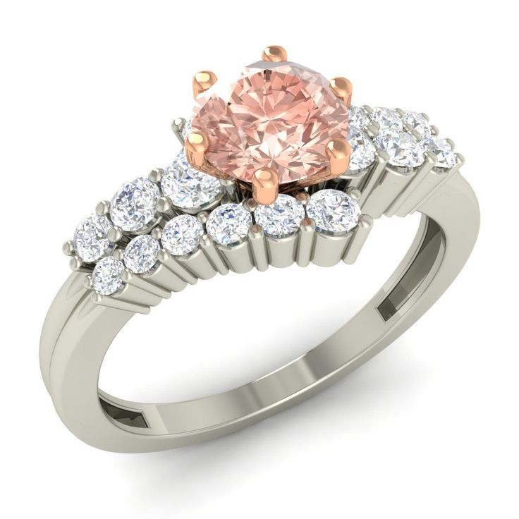 1.38 Ct. Round Cut Morganite & Diamond Engagement Ring in 10K White Gold   eBay