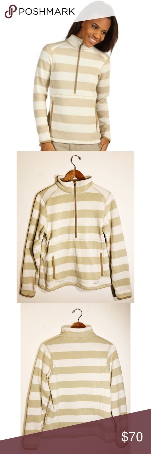 PATAGONIA better sweater stripe marsupial pullover Women's Patagonia fleece pullover sweatshirt, front and back contour shaping with tan and beige stripes. Front 1/2 zipper with 2 side pockets. 100% polyester. In perfect condition 👌🏼 Worn one time. Patagonia Tops Sweatshirts & Hoodies