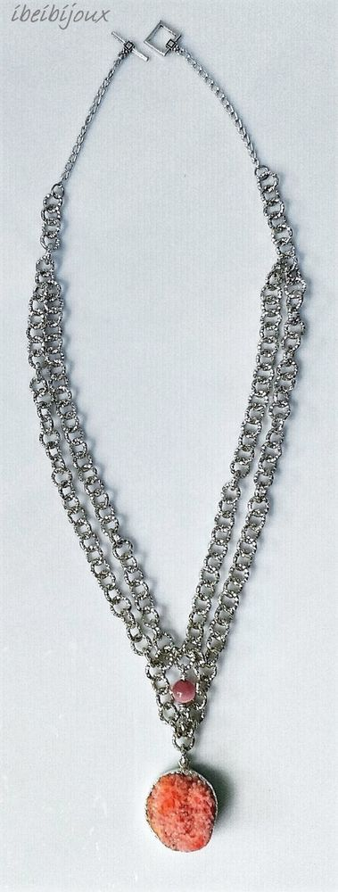 "collana donna pietra dura naturale: Agata ""Druzy"" color pesca"