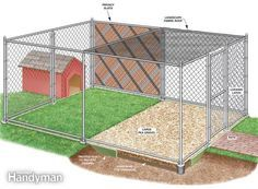 backyard dog run ideas | How to Build a Chain Link Kennel for Your Dog