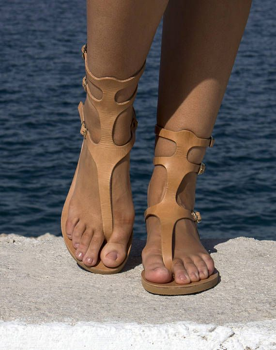 Natural Ancient Greek Handmade Leather Sandals   Women