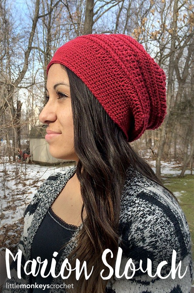 Make this trendy slouch hat by Little Monkeys Crochet with LB Collection Superwash Merino! Free crochet pattern calls for just 1 ball of yarn (pictured in cherry) and sizes H (5mm) and G (4.25mm) crochet hooks.