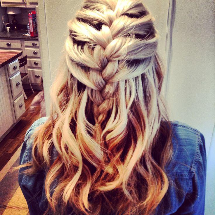 French braid with curls tumblr