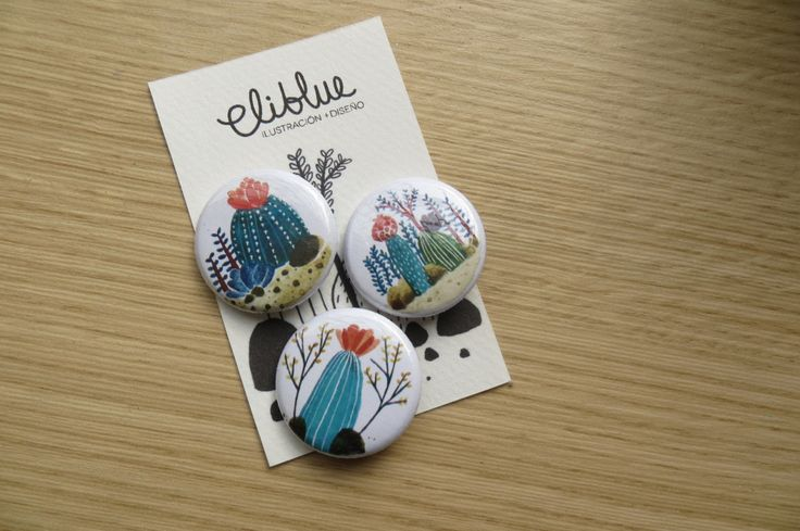 Eliblue Ilustración & diseño #illustration #cactus #button #pin #succulent #garden #acuarelas #watercolor #bogotá #eliblue