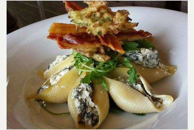 Recipe: Stuffed conchiglie with Parma ham and courgette fritters