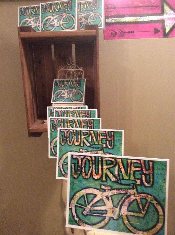 Journey bicycle card 4 1/4 x 5 1/2  10.8cm by ZazziPlannerMixMedia