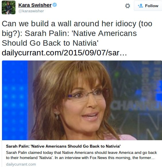 "Fake news article reports that Sarah Palin said Native Americans should go back to their homeland of ""Nativia."""