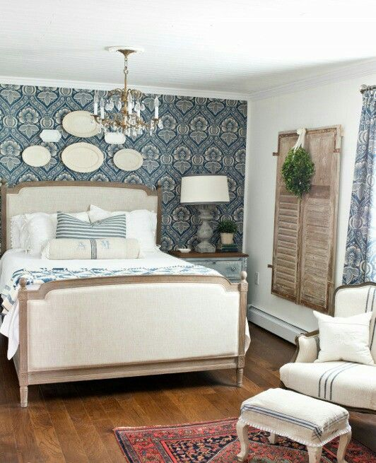 ●Classic — With a Twist - The trend of giving classic bedroom decor a modern twist is evident in this room at the Miss Mustard Seed blog. The furniture, rug and chandelier err on the side of classic, while the bold accent wall gives the room a modern spin we love.