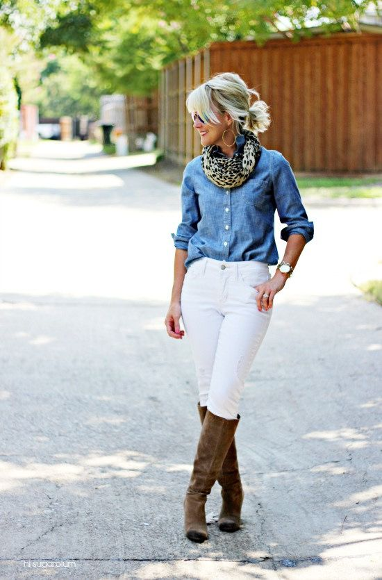 Chambray Shirt | Distressed White Jeans | Leopard Scarf  Wedge Boots | Mirrored Aviators-{5 Ways} White Jeans After Labor Day