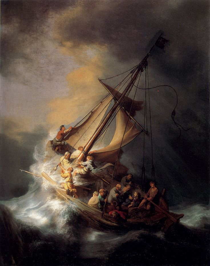 """Rembrandt - The Storm on the Sea of Galilee, 1633. This is a truly magnificent painting. One wonders if Rembrandt ever sailed in a storm that he could capture the force and power of the event so well. Famous for his use of light, Rembrandt places the light source, not where Jesus is, but from some unseen place offstage; seemingly the same place the storm is coming from. Some of the disciples are looking at this light, others are trying to stabilise the boat, whilst others wake Jesus. """"Be…"""