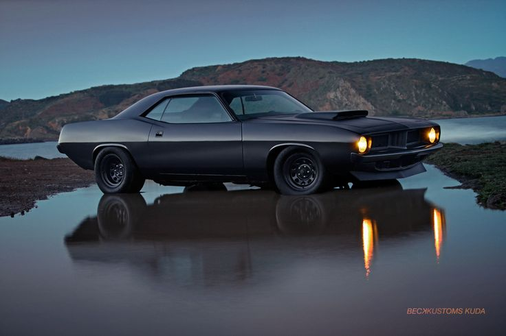 matte black custom Cuda by Beck Kustoms