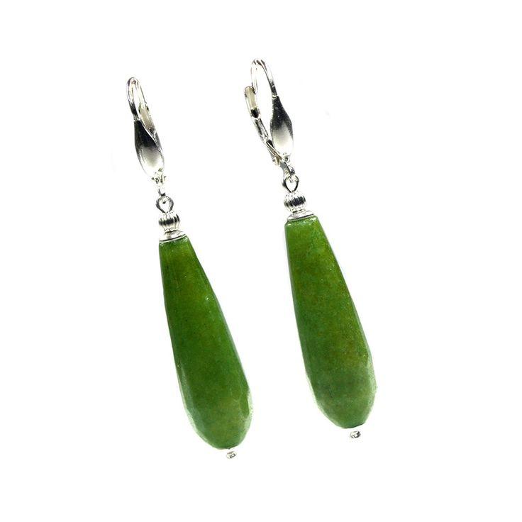 Oorbellen Art Deco – groen facet Jade - Sterling Zilver
