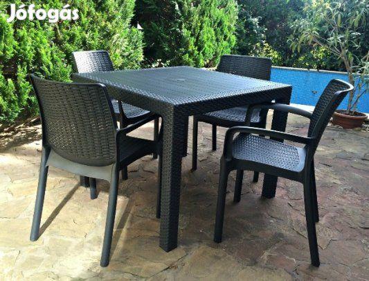 Eladó 4 személyes kerti garnitúra: Budaörsön eladó egy alig használt, gyönyörű állapotú Curver kerti bútor garnitúra.   A garnitúra tartalma:  - 1 db Melody quartet asztal (95x95x75 cm) - 4 db Bali Mono szék (55x60x83 cm)  Az ár nem irányár, a szállítás és annak költsége a vevőé!   Tekintse meg a többi hirdetésemet is!