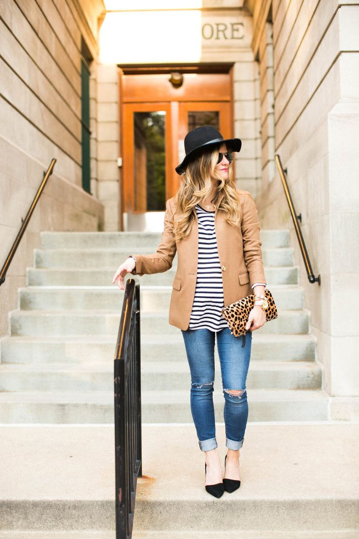 camel blazer and stripes and jeans outfit