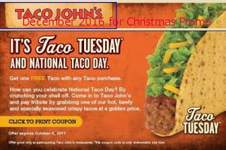 Taco Johns coupons for december 2016