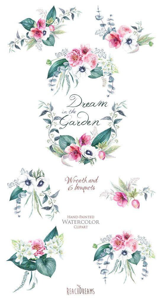 Wedding Watercolor Wreath & Bouquets Helleborus von ReachDreams