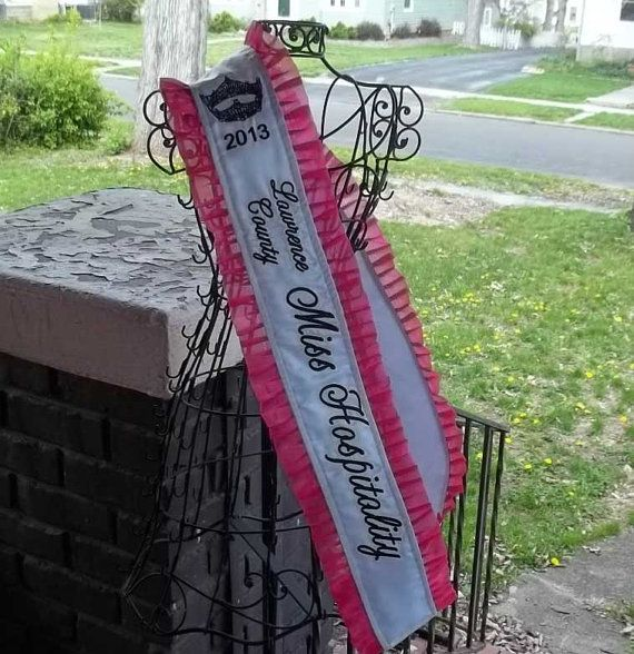 Hey, I found this really awesome Etsy listing at https://www.etsy.com/listing/180434846/satin-pageant-sash-with-added-crown High quality ruffle pageant  sash.  Customizable fabric, text, and font.