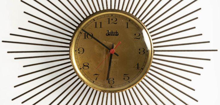 Jakob 1980ler retro tarz duvar saati   Jakob 1980s vintage sunburst clock