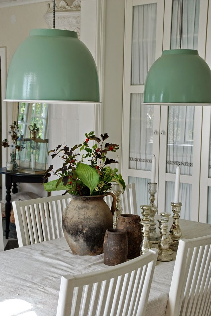 Superb Love The Play Between Rugged Clay Pots And Polished Silver Candlesticks. Is  Anyone Else Noticing The Pendant Lights Shade Of Green Popping Up  Everywhere? Awesome Design