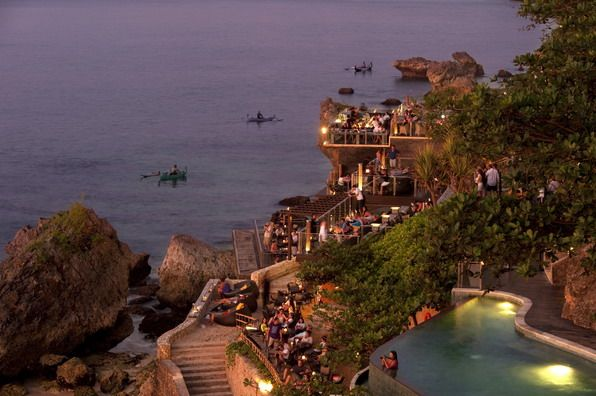Showcasing unparalleled views from 14 meters above the Indian Ocean, Rock Bar is accessible via AYANA's dramatic cliff side inclinator.