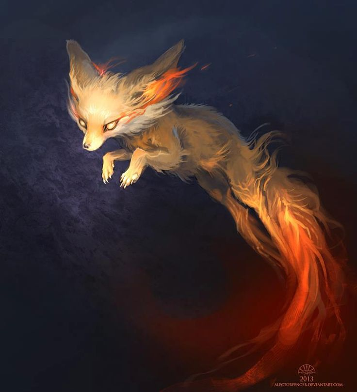 Celeritate. A speedy fox that leaves behind a trail of fire. They tend to come out during the sunrise or sunset, when the golden light camouflages their flaming colors. Friendly to humans, and contain distinct personalities.