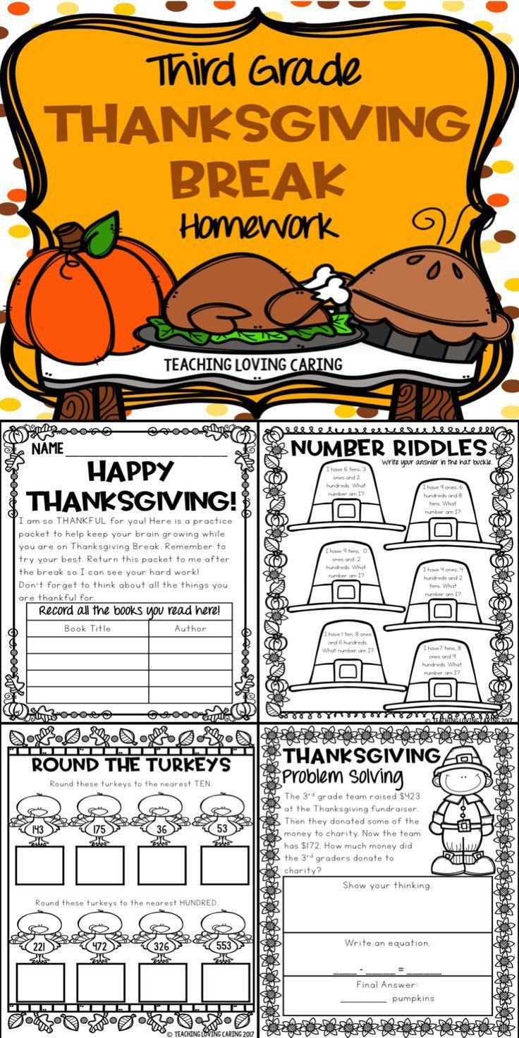 Thanksgiving Break Packet Third Grade In 2020 Thanksgiving Classroom Activities Thanksgiving Break Thanksgiving Lessons