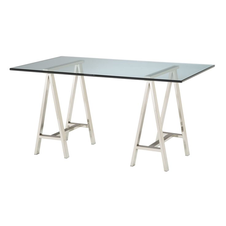 Sterling Coastal Cool Metal & Glass Architect's Desk (Silver with Clear Top)