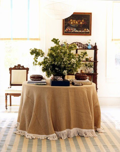 Burlap Skirted Table With Fringe