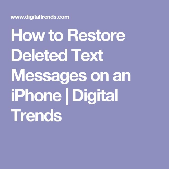 How Do You Find Deleted Texts On Iphone