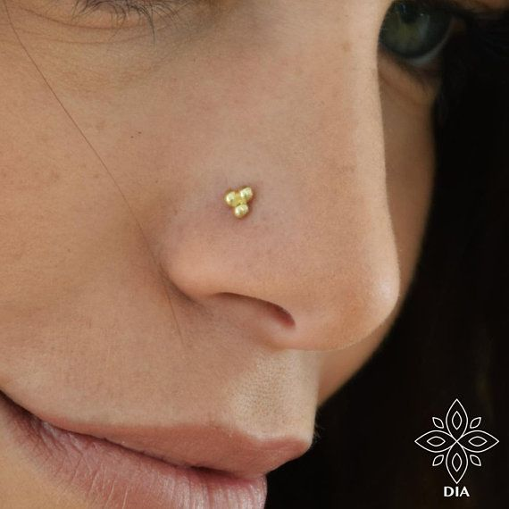 f0abca3c5af Solid 14K Gold Three Dot Nose Stud, Dot nose stud, 14k solid gold ...