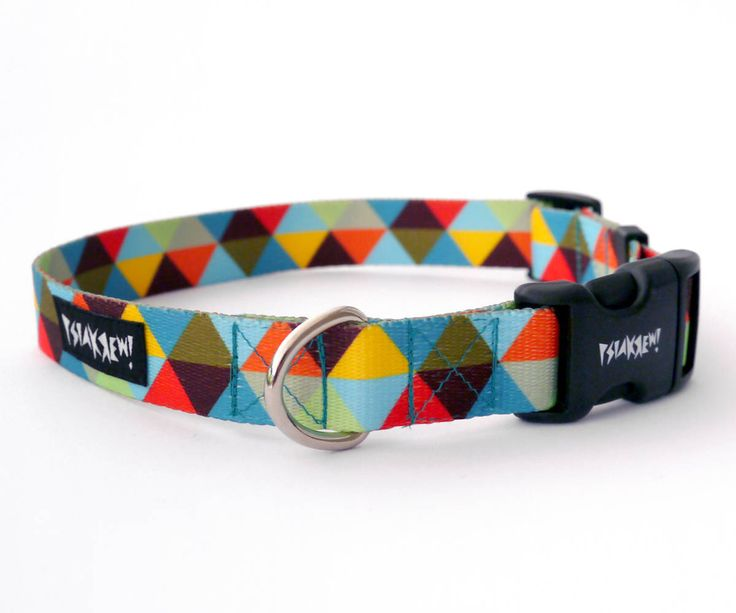 "Dog Collar Bermuda Triangle  2 cm, 0.78""  wide, Pet accessories Psiakrew Colorful Pet collars for small dogs and puppies by PSIAKREW on Etsy"