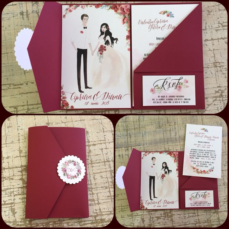 My beautiful custom wedding invitation made by @thesheeps  Ana Maria Calugareanu - Amai; Marsala Handmade Invitation Custom Wedding Portrait Watercolor Roses