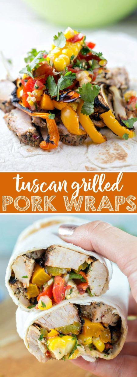 These easy grilled pork wraps are fresh & filling! The perfect handheld for picnics or backyard parties!