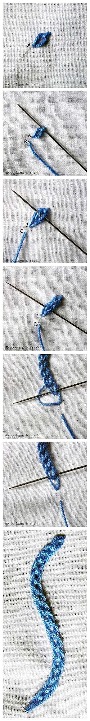 Hungarian braided chain stitch - great for thicker outlines