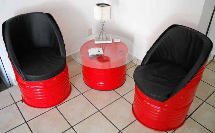 Muebles reciclados sala echa de tambos 2 sillones con su for Colores de pintura para sala